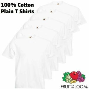 New-5-Pack-Fruit-of-the-Loom-Tshirts-Men-100-Cotton-Top-Tee-Plain-T-Shirt-Men