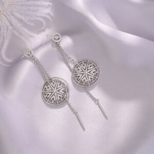 Earrings-Nails-Long-Linear-Chandelier-Star-Cz-Gold-Plated-White-G9-D