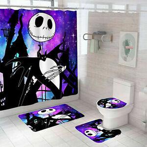 4PCS Jack Skellington Bathroom Shower Curtain Non-Skid Bath Mat Toilet Lid Cover