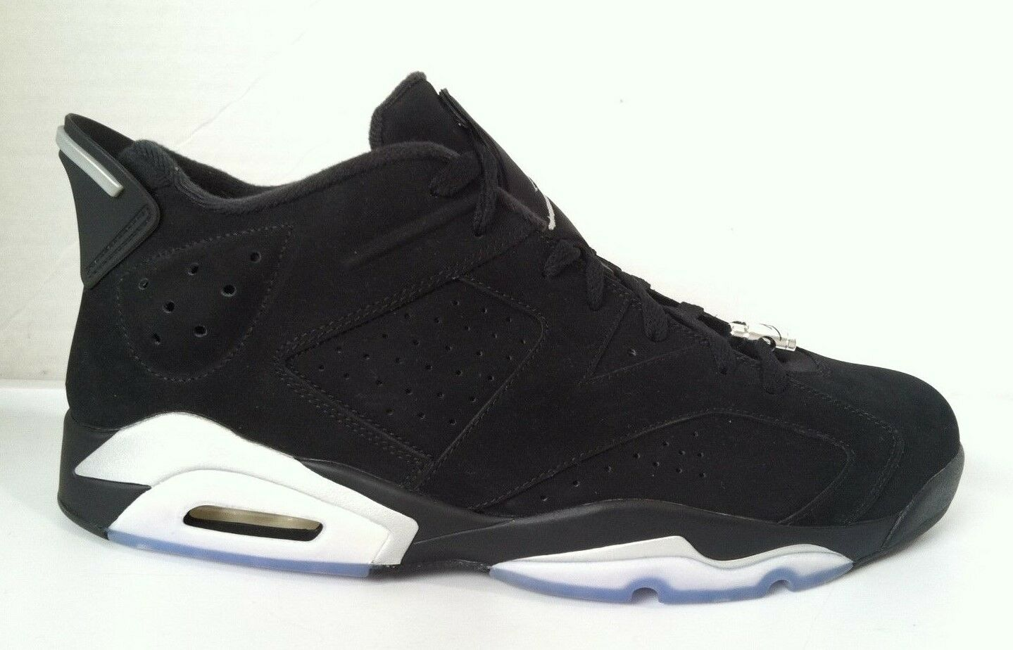 NWOBX Men's NIKE AIR JORDAN RETRO 6 Low Chrome Black White SZ 14 (304401-003)