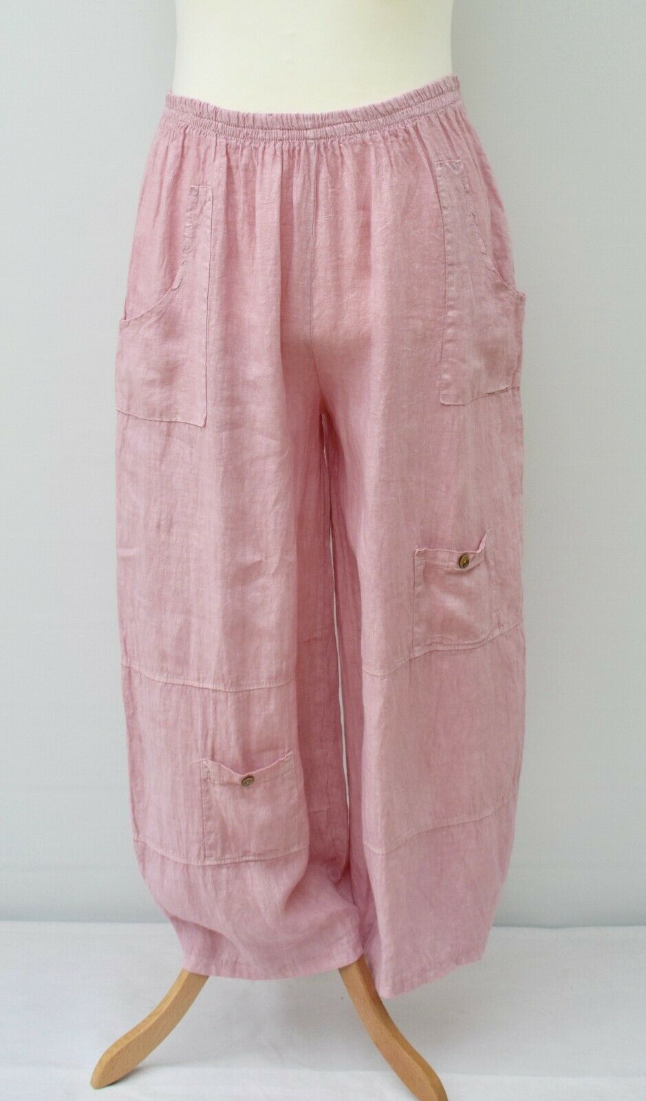 PLUS SIZE LINEN OVERSIZED BALLOON HAREM TROUSERS DUSTY PINK L-XL-XX OSFA ITALY