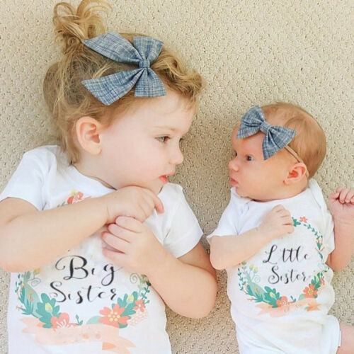 AG/_ Baby Kids Girl Little Big Sister Matching Clothes Romper Outfits T Shirt