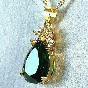 Gold-Pendant-amp-Chain-Necklace-Pear-Cut-Green-Emerald-amp-Diamante-GF-Plum-UK-BOXED
