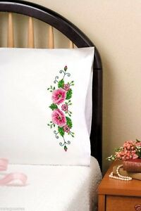 Tobin-Stamped-Embroidery-kit-20-034-x-30-034-Pillowcases-PINK-WILD-ROSE-232130-Sale