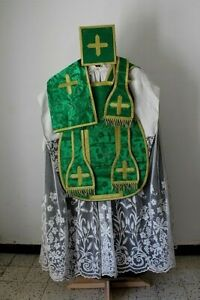 Chasuble-Roman-of-Priest-Complete-in-Silk-Damask-Green-Embroidery-Cornelli-19th