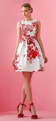 size 40 cca4d 78684 Abito Allure floreale rosso e bianco taglia 50 Elegant dress Elegantes  Kleid Rob   eBay