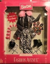 "NIB 1999 BARBIE ""FASHION AVENUE"" Denim coat Zebra pants Fashion nails & Stickers"