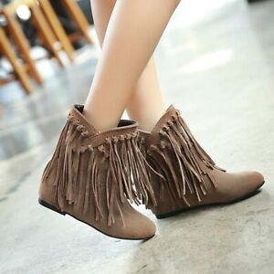 Women Suede Tassels Fringe Mid Calf Boots Hidden Heel Pull Booties Tassels Shoes