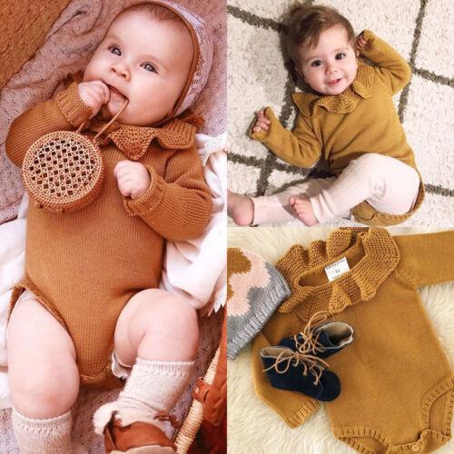 Newborn Baby Girls Knit Warm Romper Bodysuit Jumpsuit Outfits Set Kids Clothes