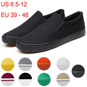 Men-039-s-Canvas-Sneakers-Classic-Black-Slip-On-Casual-Skool-Skate-Athletic-Shoes