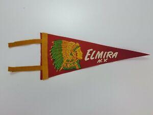 Vintage-Elmira-NY-11-034-Felt-Tourist-Pennant-Red-Yellow-w-Native-American