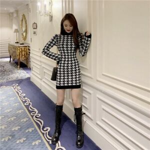 Houndstooth Paillettes Pull Pull en mailles tricot noir blanc à manches longues robe