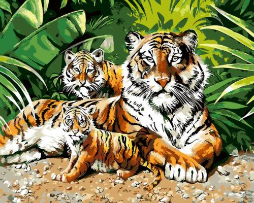 King Tigers Lions 40X50cm DIY Paint By Numbers Kit Digital Oil Painting Canvas