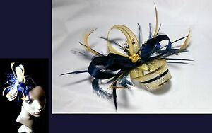 Image is loading Navy-blue-and-sparkling-gold-fascinator-on-comb- 55ab6c44681