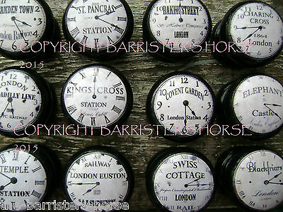 LONDON STATION CLOCKS, BLACK/WHITE CUPBOARD /DRAWER KNOBS/HANDLES, WOODEN