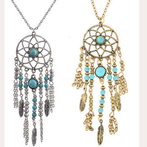 Vintage-Turquoise-Feather-Tassel-Pendant-Dreamcatcher-Long-Chain-Necklace-Gift