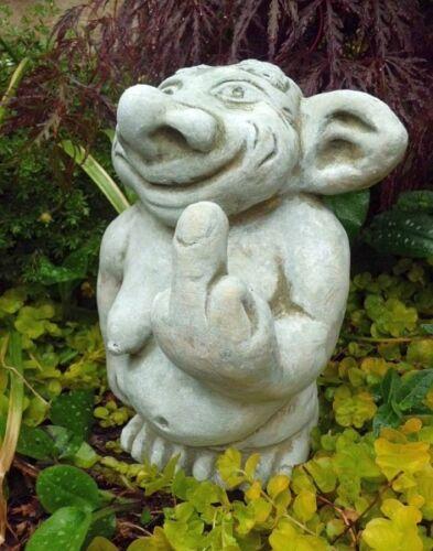 "Wichtel Gartenfiguren /""Frau Stinkefinger/"",Steinguss Gartendeko Troll 25 cm"