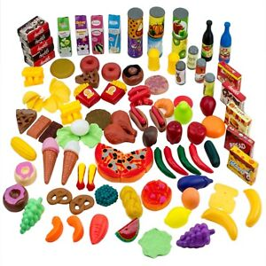 Details About 120pcs Pretend Play Food Set Vegetables Fruits Juice Kitchen Toys Kids Toy Gift