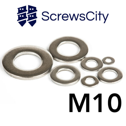 M10 MARINE GRADE A4 STAINLESS STEEL FLAT WASHERS A TYPE
