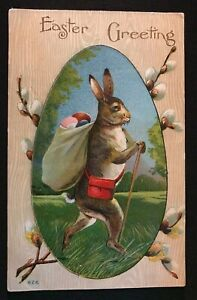 Humanized-Bunny-Rabbit-Sack-of-Eggs-Pussy-Willow-Flowers-Easter-Postcard-s-36