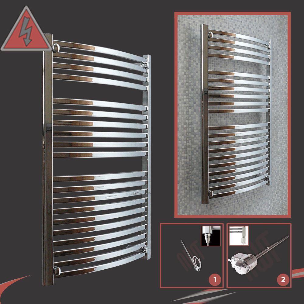 600mm (w) x 1100mm (h)  ellipse  designer chrome électrique chauffé rail serviette - 300 W