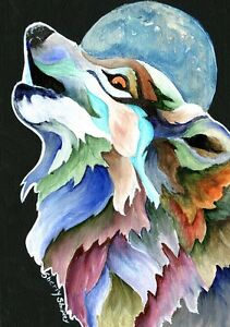 MOON-SONG-Original-WOLF-5x7-Acrylic-Framed-Painting-by-Sherry-Shipley