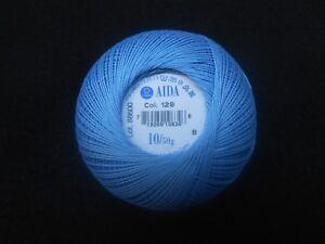Coats Aida Crochet Hilo De Algodón 50g Talla 10 Color Azul número 136
