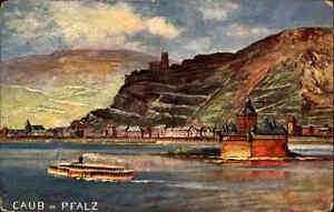 Feldpostkarte-1-WK-CAUB-Rheinpfalz-Rhein-1914-Stempel-Reserve-Lazarett-Dresden