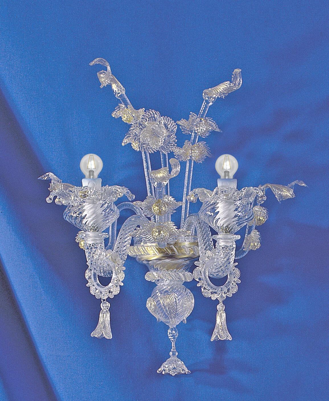Tronchetto Applique 2 2 2 luci cristallo Gold in vetro di Murano 634604
