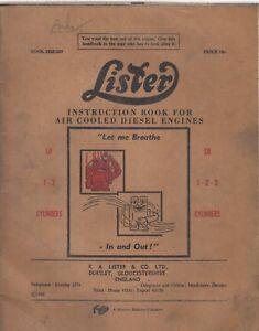 Lister LR y SR 1-2-3 cilindros refrigerado por aire motores Diesel Libro De Instrucciones