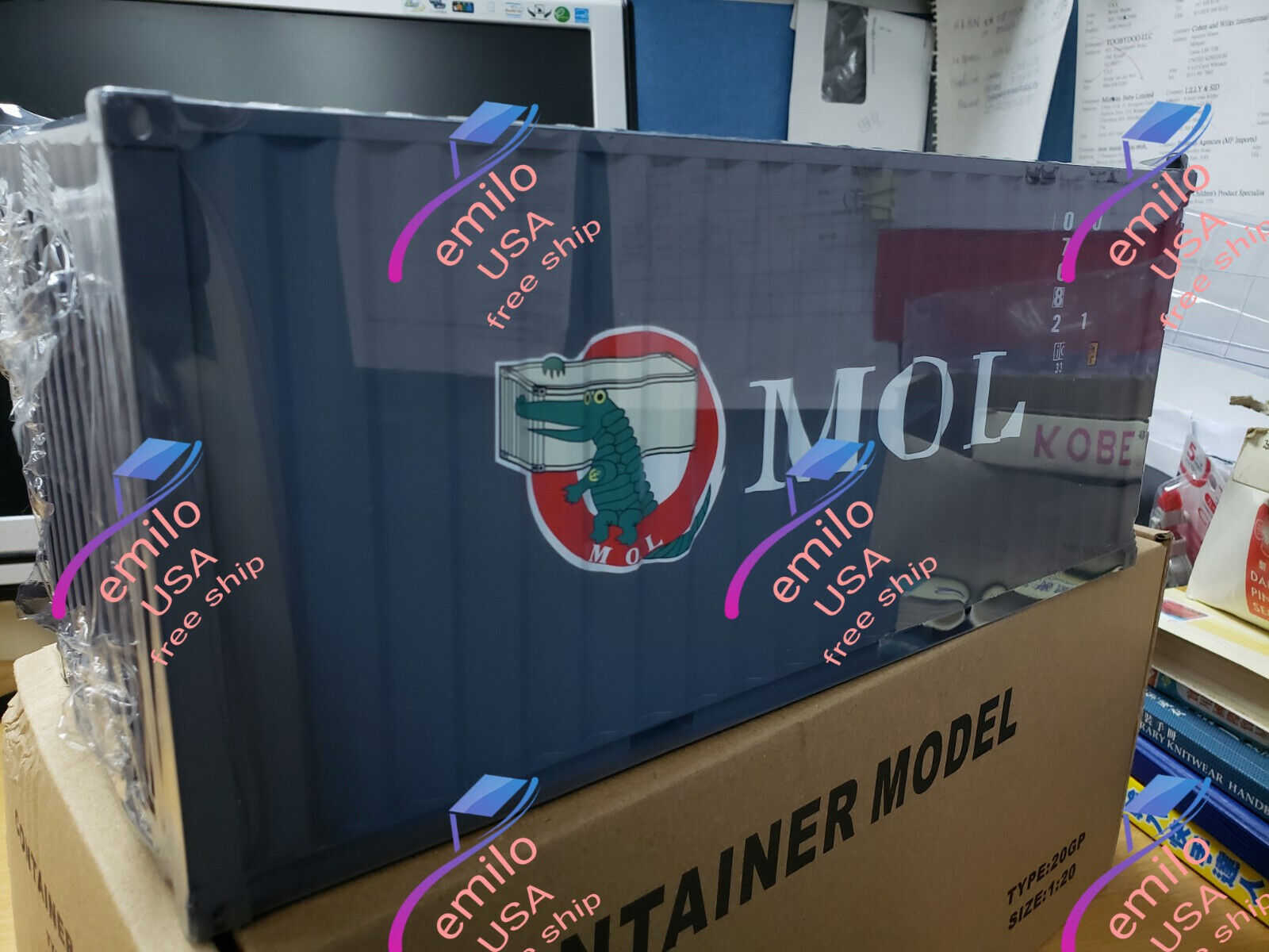 MOL 1 20 Sea Transport Cargo Shipping Container Model
