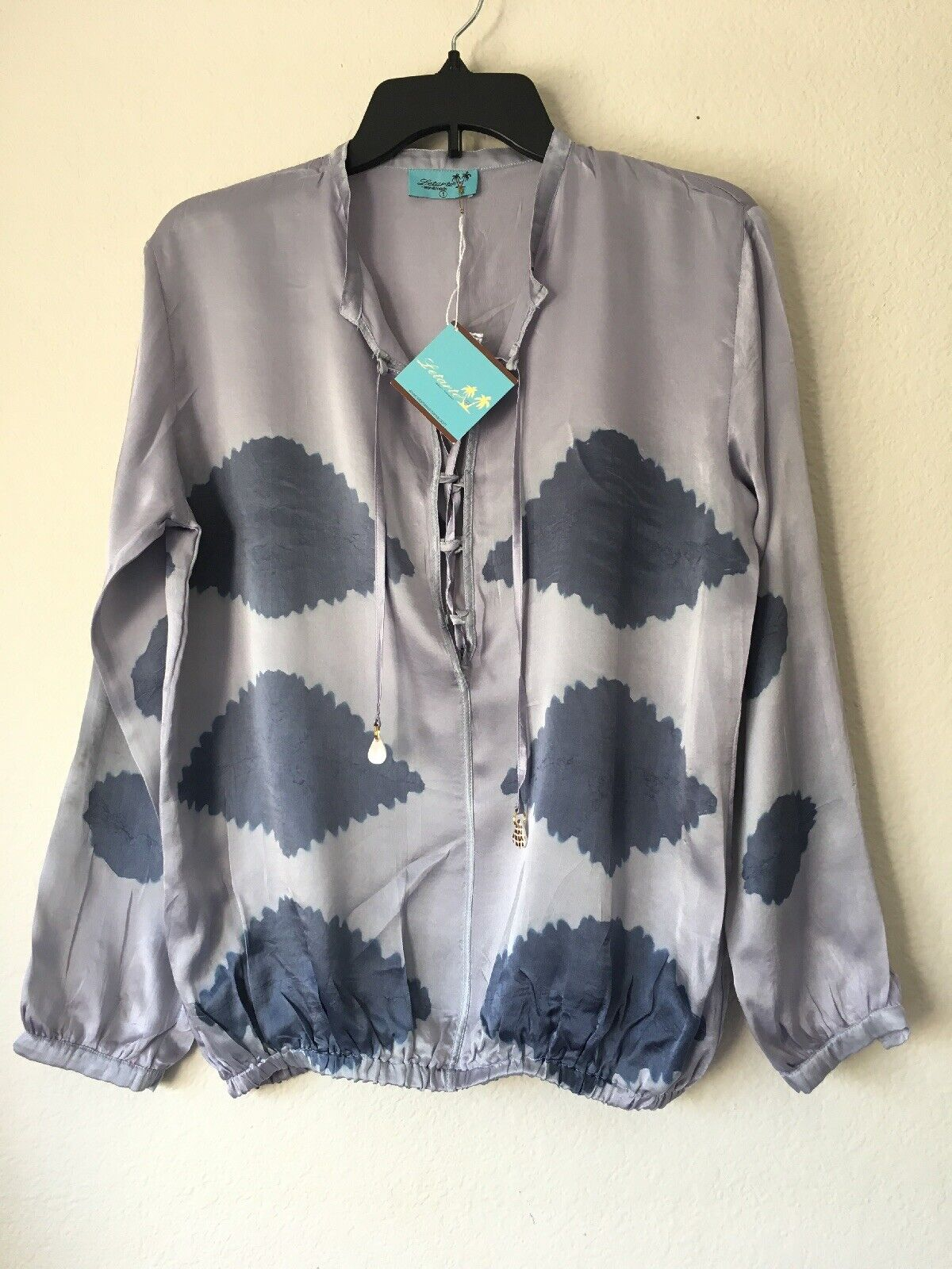 Letarte Handmade damen Long Sleeve Blouse Top Blau Abstract Silk Größe Small