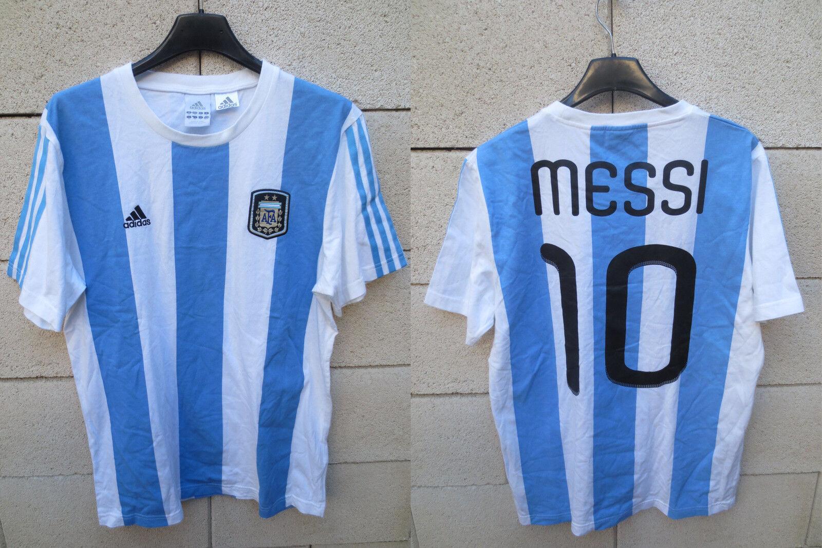 Maillot coton T-shirt silverINE silverINA Messi 10 rétro vintage ADIDAS M shirt