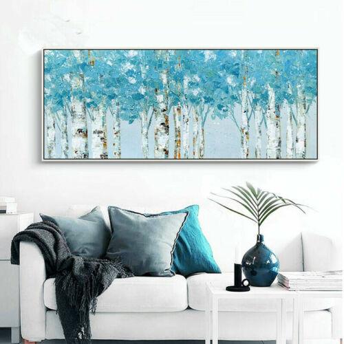 YA103 DIPINTO A MANO PAESAGGIO ASTRATTO dipinto ad olio Blu Foresta senza cornice