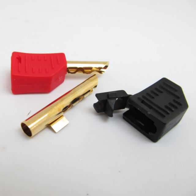 1pair Stackable BFA 4mm Banana Plug Z-Type Speaker Cable Connectors Red + Black