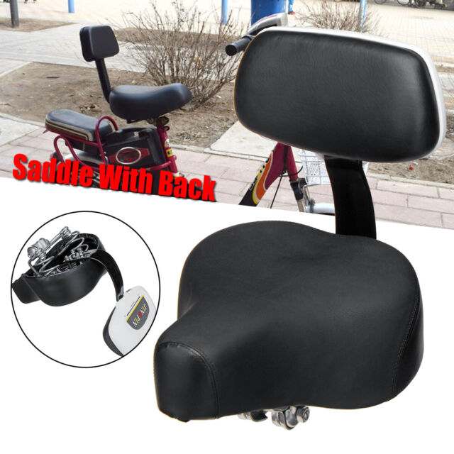 Black Wide Comfort Cruiser Tricycle Bike Bicycle Saddle Seat Pad With Back Rest