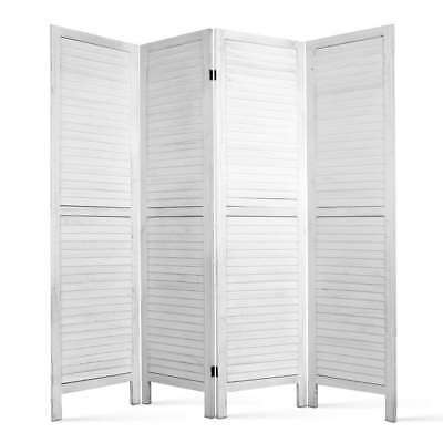White Wooden Room Divider Screen Panel Privacy Office Home Folding 4 Panels Ebay