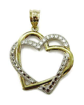 728b528643 10K Yellow & White Gold Interlocking Double Heart Charm Necklace Pendant ~  1.2g | eBay