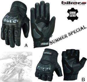 MENS-SHORT-PERFORATED-HARD-KNUCKLE-MOTORBIKE-MOTORCYCLE-MOTOCROSS-LEATHER-GLOVES