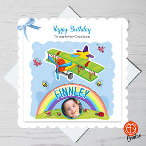 First Birthday Grandson Son Personalised Happy 1st 2nd Nephew Airplane 3rd