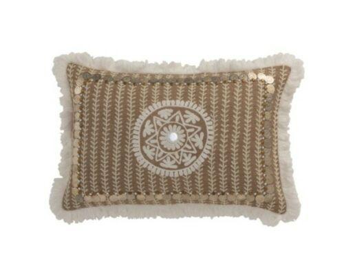 Kissen mit Münzen und Quasten beige creme 55 x 34 cm JLine Ibiza Stil bohemian