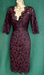 New-MONSOON-UK-8-12-Purple-Red-Black-ELODIE-Fitted-Lace-Pencil-Cocktail-Dress