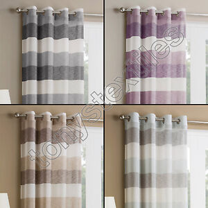 Striped Voile Net Curtain Panel Eyelet Ring Top White Silver Natural Purple Blue Ebay