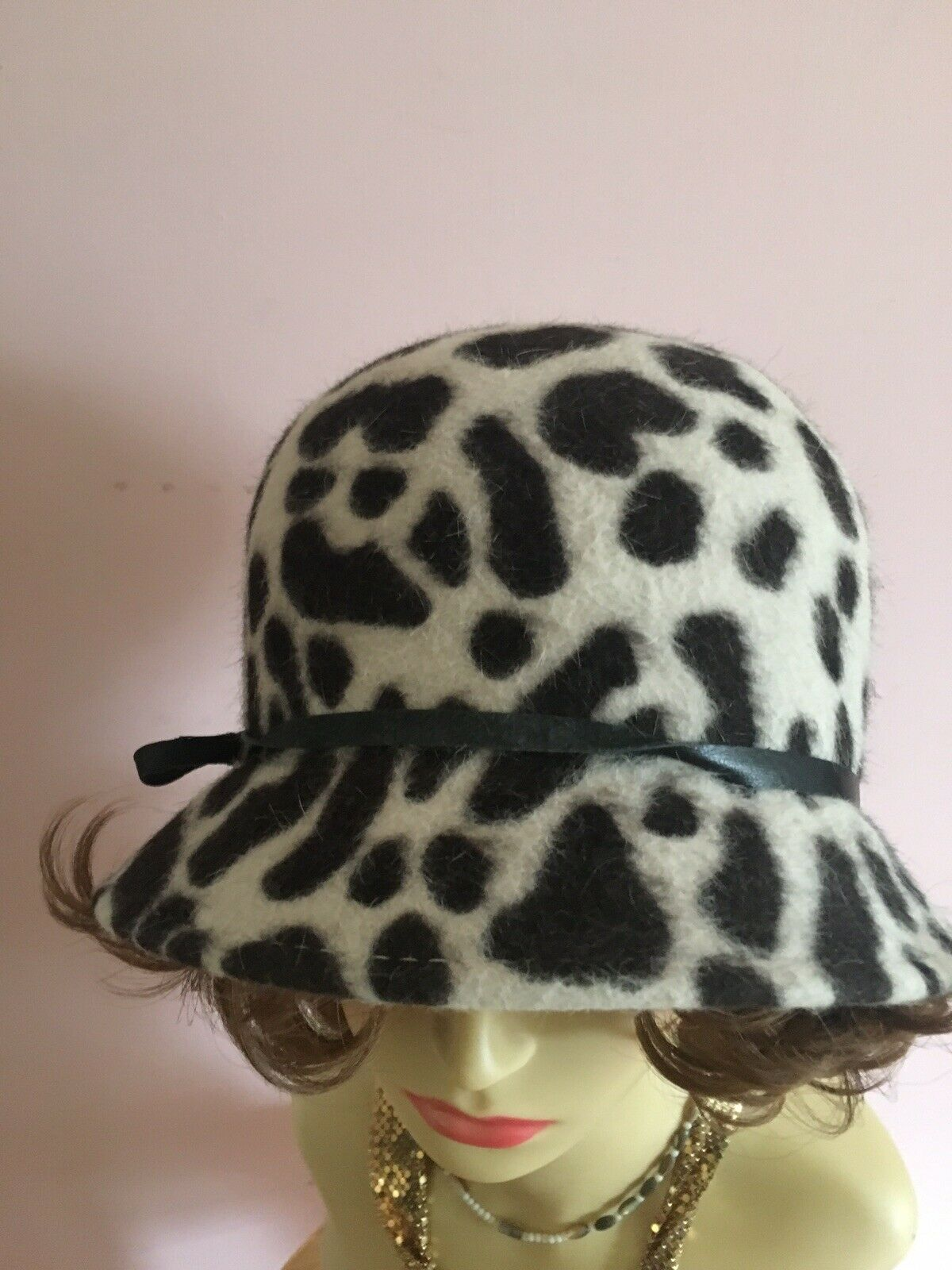 Vintage Rabbit Fur Cloche Hat Made In Italy Faux Leopard print by Lord & Taylor