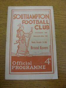 26-12-1960-Southampton-v-Bristol-Rovers-Creased-Score-Noted-On-Cover-Footy