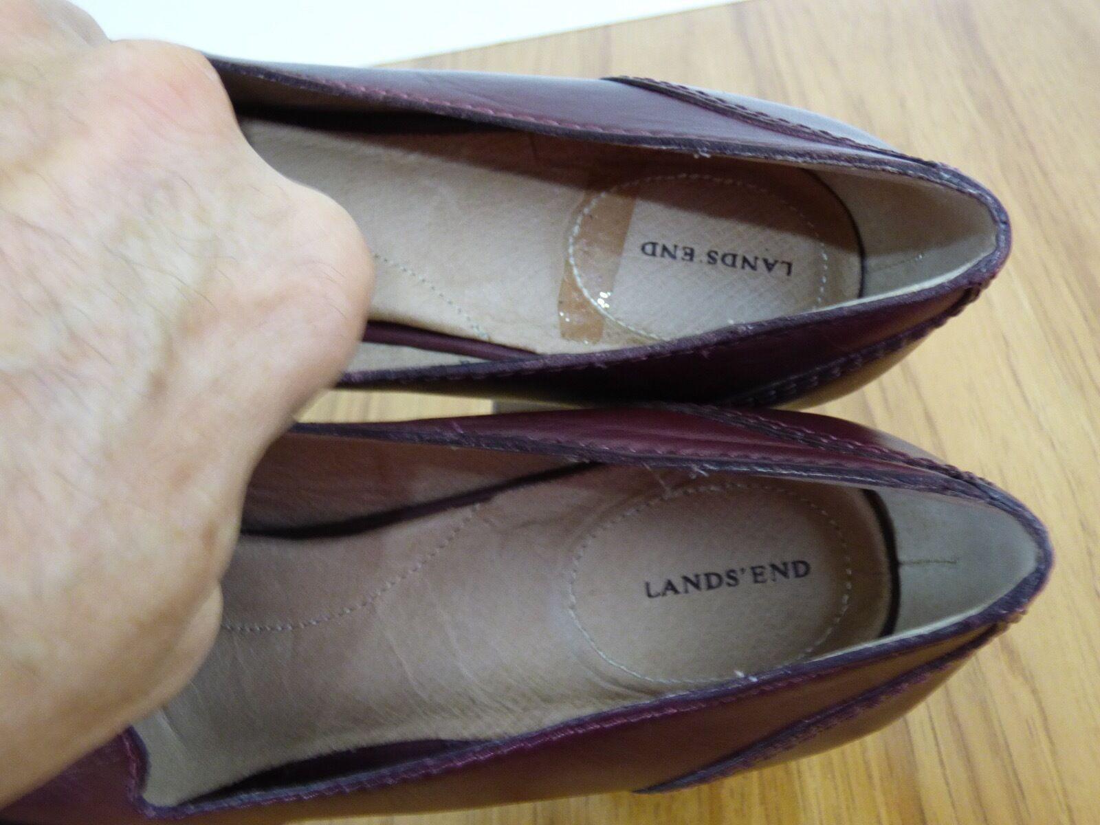 Lands End Stowe Sz 8B Burgundy Leder High Heel Tassel Pumps Schuhes Damenschuhe 8B