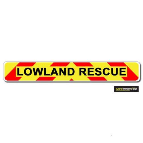 Magnetic sign LOWLAND RESCUE chevron design Background and text vehicle MG155