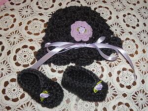 0b25668cf Details about Handmade Crochet Baby Girl Hat Booties Set Dark Silver &  Lilac Newborn 3 Months