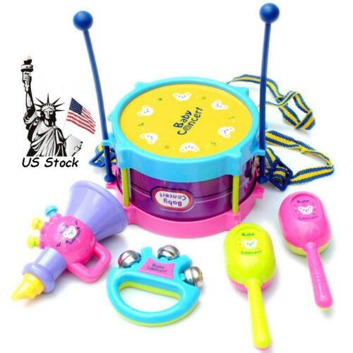 5PCS Kids Baby Roll Drum Musical Instruments Band Kit Children Toy US Stock