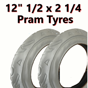 2x White Pram Tyre (62-203) 12 1/2 X 2 1/4  Pushchair Stroller Scooter